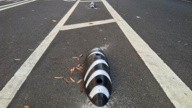 The five-inch high zebras are supposed to dissuade drivers from making illegal U-turns across the Pennsylvania Avenue bike lanes.