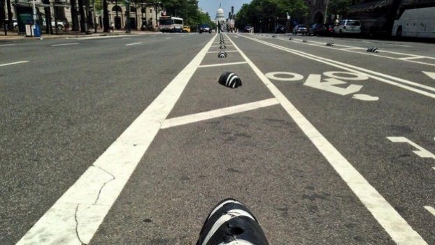 "Cycling advocates say these ""zebras"" on Pennsylvania Avenue didn't prevent U-turns, and DDOT now plans to remove them."