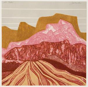 """Talus,"" by John Ross, is one of the works included in RED, an exhibition of prints featuring the bold hue."