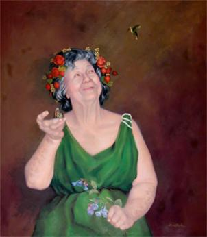 In this oil painting, artist Linda Lawler portrays her mother as Gaea, the Greek goddess of Earth.