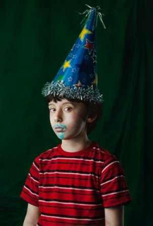 Katie Miller, Youth in a Party Hat, 2013, oil on panel, 34 x 23 inches.