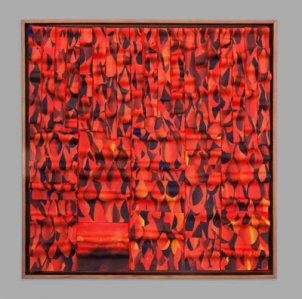 """In works such as """"Warmth of the Fire,"""" artist Fran Abrams mixes differently colored pieces of clay together to achieve a finished product that almost looks like a painting."""
