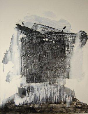 Wayson R. Jones,Covert Surveillance, 2013, powdered graphite, acrylic medium, acrylic, gesso on canvas, 34 x 44 inches.