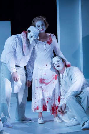 L-R Matthew Pauli (Lucius), Miranda Medugno (Lavinia) and Toby Mulford (Marcus) lament recent tragedies in Faction of Fools' production of Titus Andronicus.