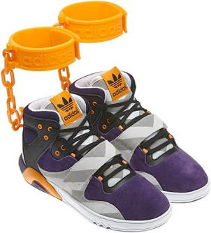 The Adidas JS Roundhouse Mids feature a faux-shackle around the wearer's ankle, evoking images of slavery for some.