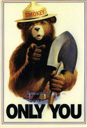 Smokey Bear, as created by the Forest Service, United States Department of Agriculture, in cooperation with the Association of State Foresters and the Advertising Council.