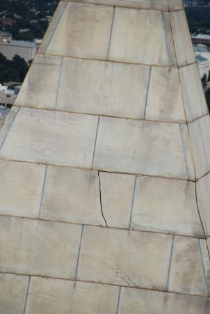 A view of one of the cracks the Washington Monument sustained in the 5.8 magnitude earthquake that struck the region in August.