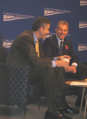 U.S. Secretary of Education Arne Duncan and former British prime minister Tony Blair discuss community schools at the Center for American Progress.