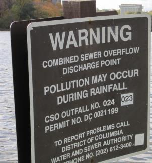 Potomac sewage overflow point in Northwest Washington, DC.