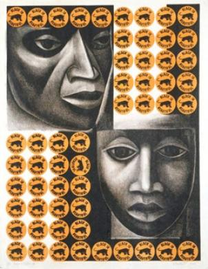 """Negro es Bello II"" by American-born Mexican sculptor and printmaker Elizabeth Catlett. Her work is part of a show on democracy and art at Contemporary Wing."