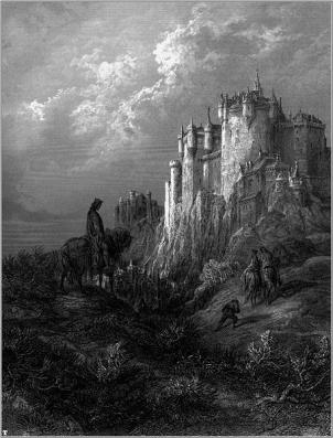 "The castle Camelot, an illustration from Lord Alfred Tennyson's ""Idylls of the King,"" 1868."