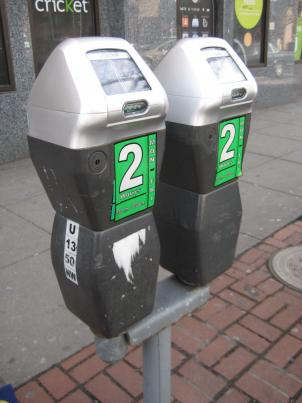 New solar powered parking meters at U and 14th street.