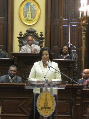 Baltimore Mayor Stephanie Rawlings-Blake gives her State of the City Address 19 days after taking office.