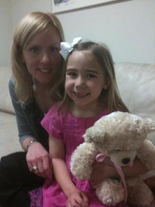 "Katy Penney, Katrina Penney and ""Mr Fluffy"" . Katrina received a heart transplant when she was 9 weeks old."