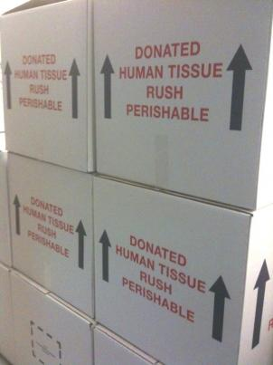 Boxes in which organs and tissues will be transported across the Washington Metro region.
