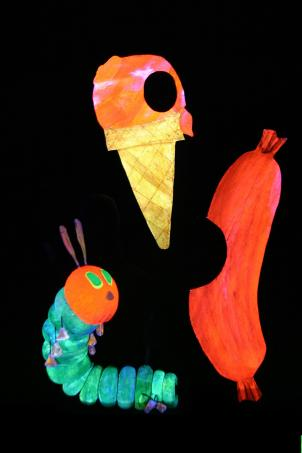 Mermaid Theatre of Nova Scotia performs The Very Hungry Caterpillar & Other Favorites at Olney Theatre Center, regaled on stage by award-winning children's book author Eric Carle.