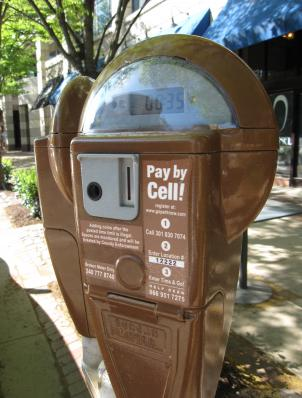 A pay-by-cell meter in Bethesda, Maryland