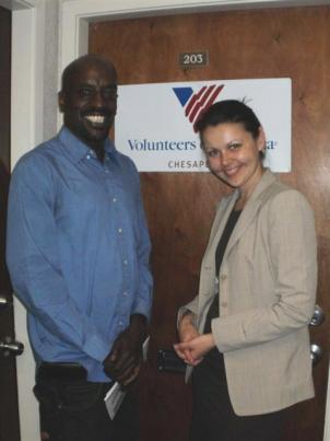Former client of Volunteers of America Chesapeake's Montgomery County Mental Health & Homeless Outreach Program Sidney McEachin (left) stands beside program director Victoria Karakcheyeva (right) at the program's headquarters in Silver Spring, Maryland.