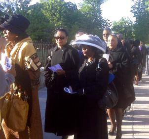Hundreds line up to pay tribute to Dr. Dorothy Height's life and legacy as a civil rights champion outside the National Cathedral.
