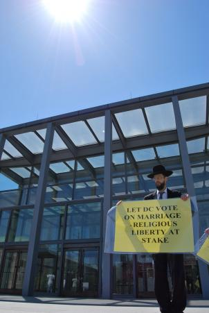 Rabbi Noson Liter of New York outside the steps of the D.C. Court of Appeals for a hearing on gay marriage.