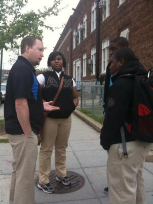 Principal Brian Betts' is shown here talking to his students, a few days before he was murdered.