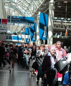 Passengers line up for the Northeast Regional Train at Union Station. The Washington to Boston region is Amtrak's most popular corridor. Last year, Amtrak carried nearly 10 million people along this route.