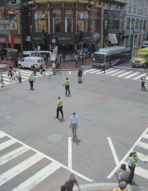 There's a new crosswalk scheme at 7th and H Streets in Northwest D.C.: traffic stops in all directions, and pedestrians can cross in any way they please.