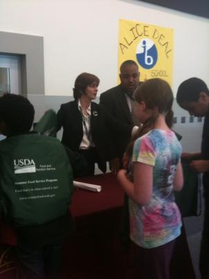 D.C. Council Member Mary Cheh talks to students at Alice Deal Middle School in Northwest D.C. about healthy meals.