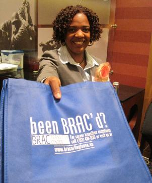 Kendra Allen ,with the Arlington County Employment Center, gave these bags out at the BRAC Job Fair. BRAC - or the Base Realignment and Closure process - will affect thousands of jobs in Arlington.