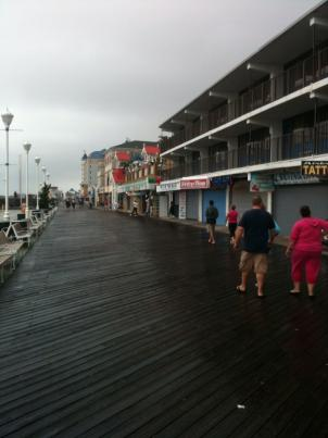 The boardwalk wasn't bustling but it certainly wasn't empty as Hurricane Earl passed by.