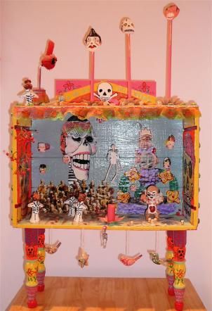 Ofrenda: Dia de los Muertos altar by Jennifer Beinhacker, on display at Almaz Ethiopian Restaurant October 31st and November 1st.