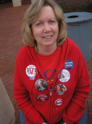 McCain volunteer Carol Grahm of Virginia came to the Government Center Parkway in Fairfax to pass out sample Republican ballots.