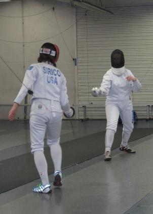 Students at the DC Fencers Club practice sparring.