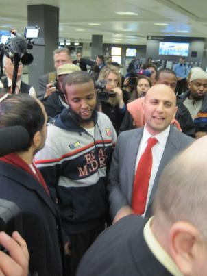 Gulet Mohamed arrives at Dulles Airport from Kuwait on Jan. 21.