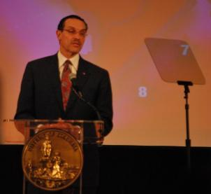 Mayor Vincent Gray gives the State of the District Address at Eastern Senior High School Monday.