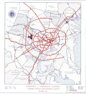 This map from the early 1960s shows all the highways planned for construction by the end of the century. Some were actually built; others, like the second Beltway, weren't.