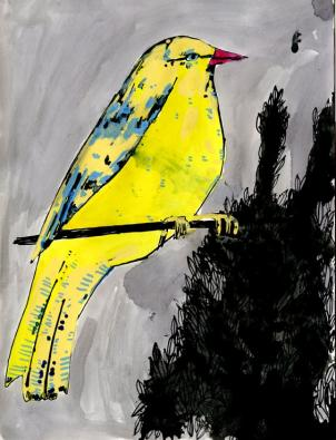 """Yellow Bird 1"" By Elizabeth Graeber."