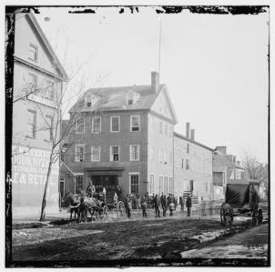 The Marshall House Hotel at the corner of Pitt and King Streets was the site where Colonel Elmer Ellsworth of the New York Fire Zouaves and Alexandria innkeeper and ardent secessionist James Jackson were killed on May 24, 1861.