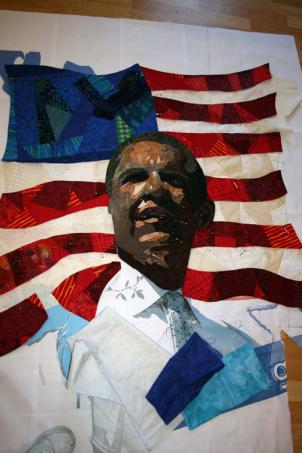 QUILT by [Debra Gabel](http://zebrapatterns.wordpress.com/2008/12/14/obama-quilt/), a fiber artist and designer.at the Cafritz Arts Center in Takoma Park.