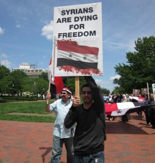 Activists demonstrate in front of the White House in support of the uprising in Syria in May.
