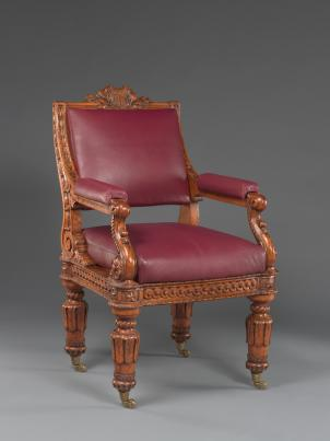 In 1857, House members would have done all their work from this wood, goatskin and brass chair (designed by Thomas U. Walter) in the House chamber. They didn't get their own offices until 1908.