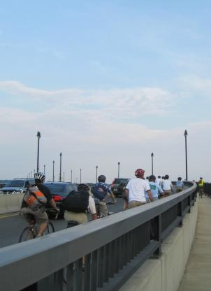 To prove the Frederick Douglass Bridge in Southwest D.C.  is unsafe, cyclists cross it during rush hour.