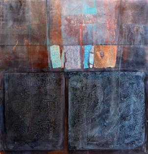 Peggy Sampogna's 'Unkown Tablets' is part of the 'Local Color' at Artists' Gallery.