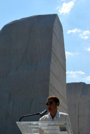 D.C. Delegate Eleanor Holmes Norton makes remarks at the new Martin Luther King Jr. Memorial on the National Mall. It will be officially dedicated Aug. 28.