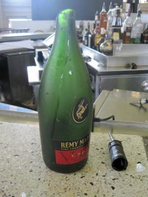 The Center Cafe's manager says this bottle of top-shelf cognac could've yielded more than $200 worth of shots. It broke during the 5.8-magnitude earthquake that hit the East Coast Aug. 23.