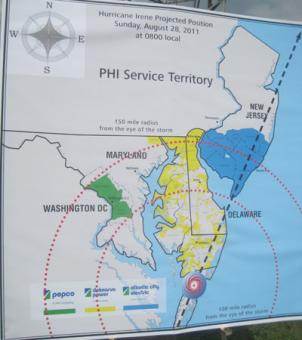 In addition to serving D.C. and the Maryland suburbs, PEPCO has two sister utilities that serve Delmarva and southern New Jersey areas, which will likely take the brunt of Hurricane Irene.