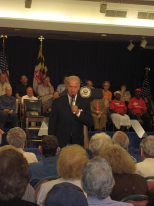 Vice President Joe Biden discusses health care reform with seniors at Leisure World retirement community in Silver Spring, MD.