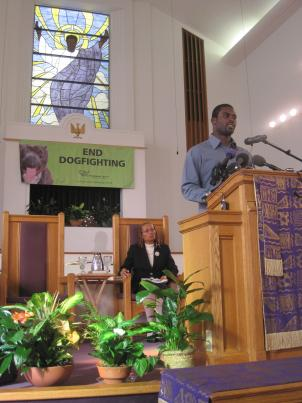 Michael Vick gave an anti-dog fighting speech to about 20 students at a local D.C. church. The Philadelphia Eagles player recently served a federal sentence for running a dog fighting operation.