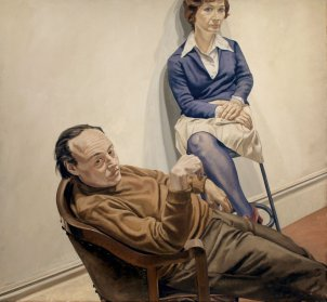 "Philip Pearlstein ""poses his people like objects,"" says curator Brandon Fortune. In 1968 he painted a portrait of two friends — married artist couple Al Held and Sylvia Stone."