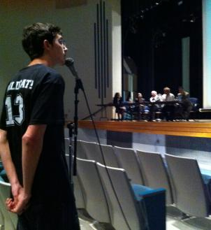 Suspended Northwestern High School Junior Shane James defends his actions at a community meeting for parents, students and administrators. on March 12 in Hyattsville, Md.